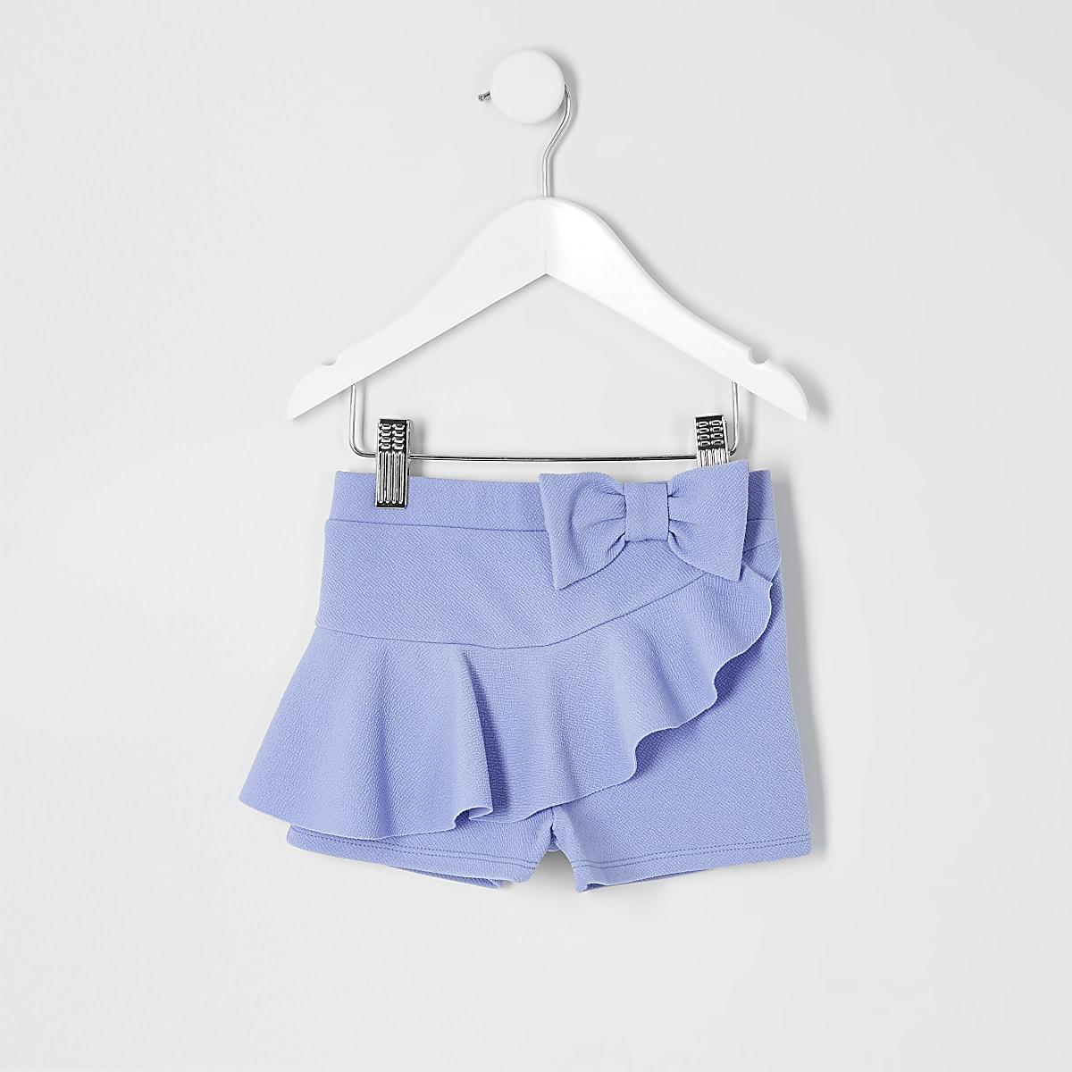 Mini - Blauwe short met ruches en strik voor meisjes