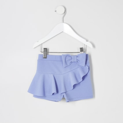 Mini girls blue frill bow shorts