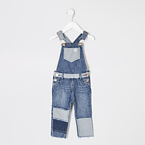 Mini boys blue patchwork denim dungarees