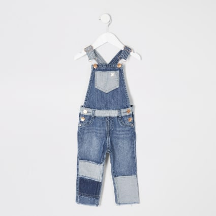 Kids blue patchwork denim dungarees