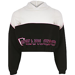 Girls black 'fearless' neon mesh hoodie