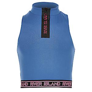 Girls RI Active blue zip front crop top