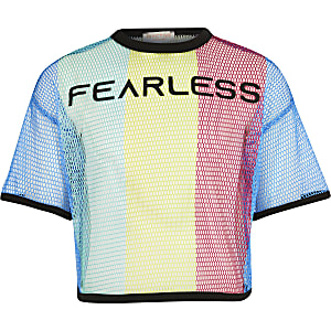 Girls RI Active multi 'fearless' mesh top
