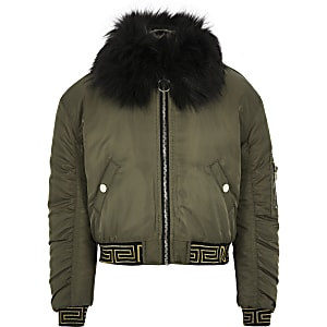 Girls khaki faux fur trim bomber jacket