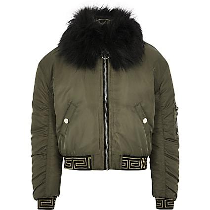 Girls khaki faux fur RI Active bomber jacket