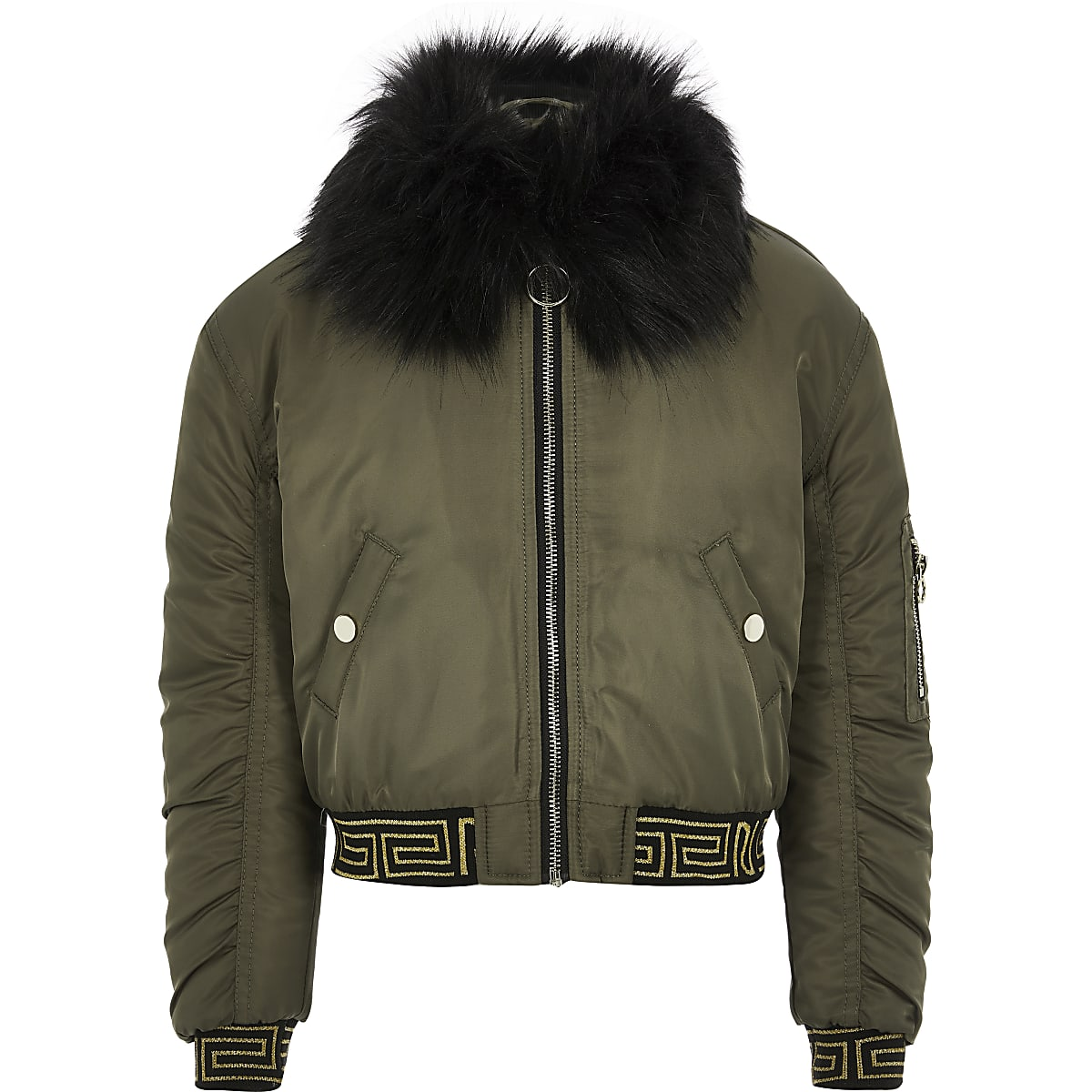 Girls khaki faux fur RI Active bomber jacket
