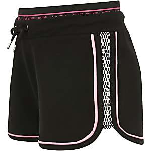Girls black neon mesh shorts