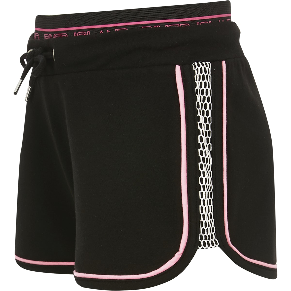 Girls black neon mesh shorts