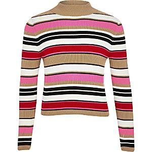Girls pink stripe turtle neck jumper