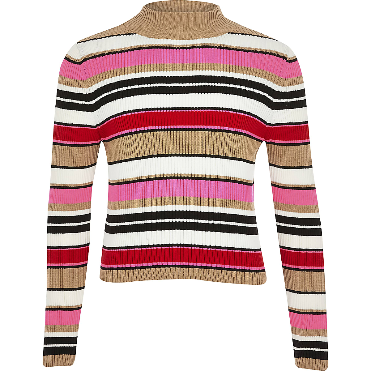 Girls pink stripe turtle neck jumper