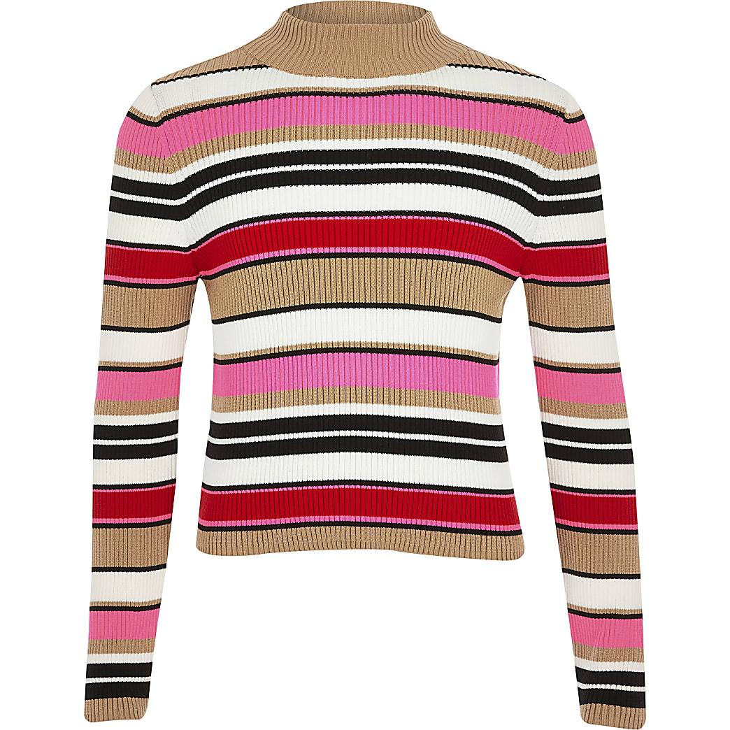Roze gestreepte pullover met col voor meisjes