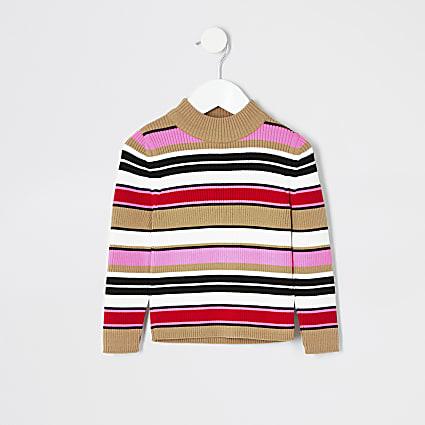 Mini girls pink stripe turtle neck jumper