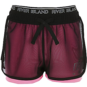 Girls RI Active pink mesh layered shorts
