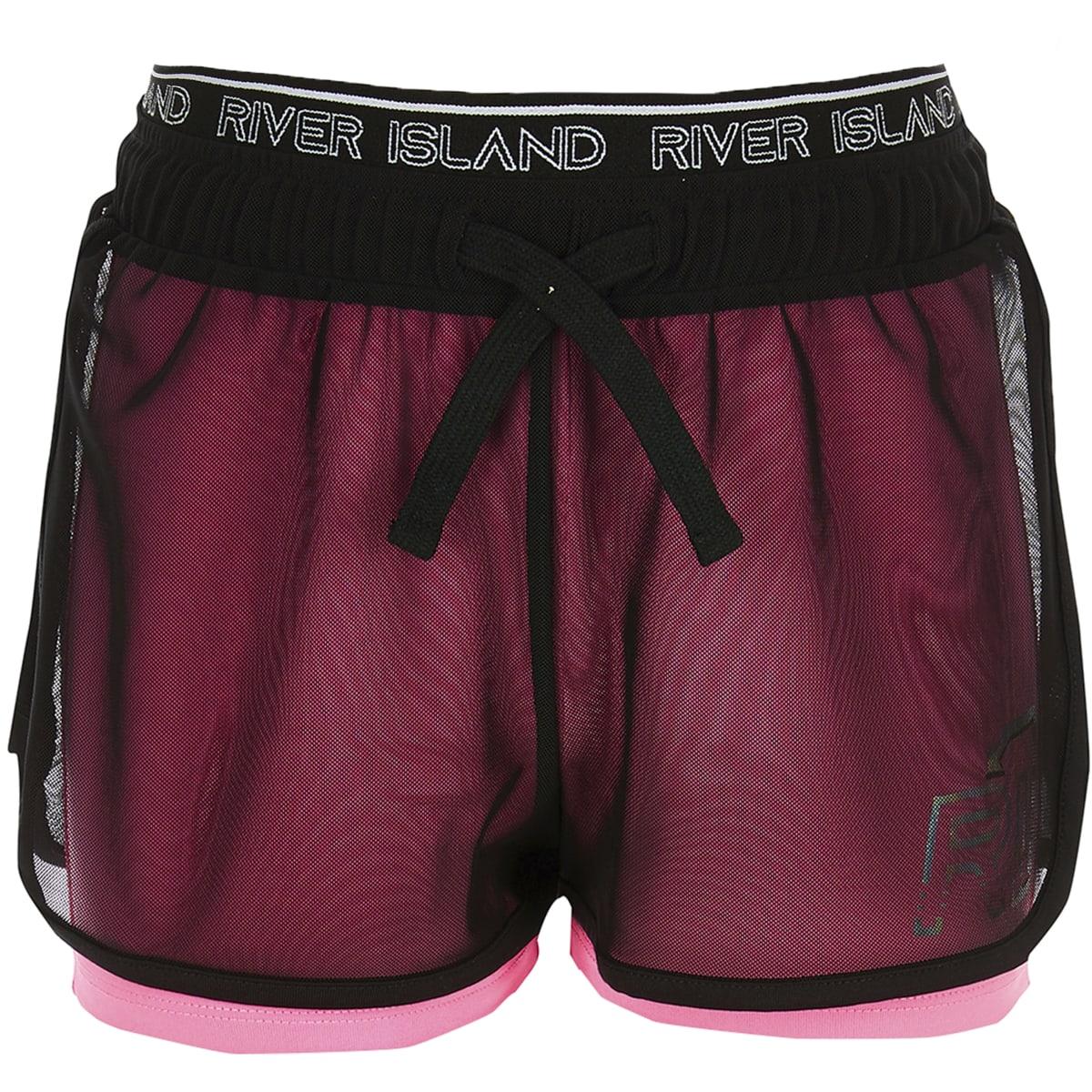 Girls RI Active pink mesh layered shorts