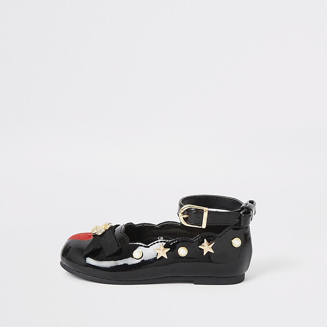 Mini girls black patent ballerina shoes