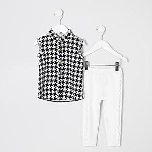 Ensemble avec legging et chemise motif pied-de-poule mini fille