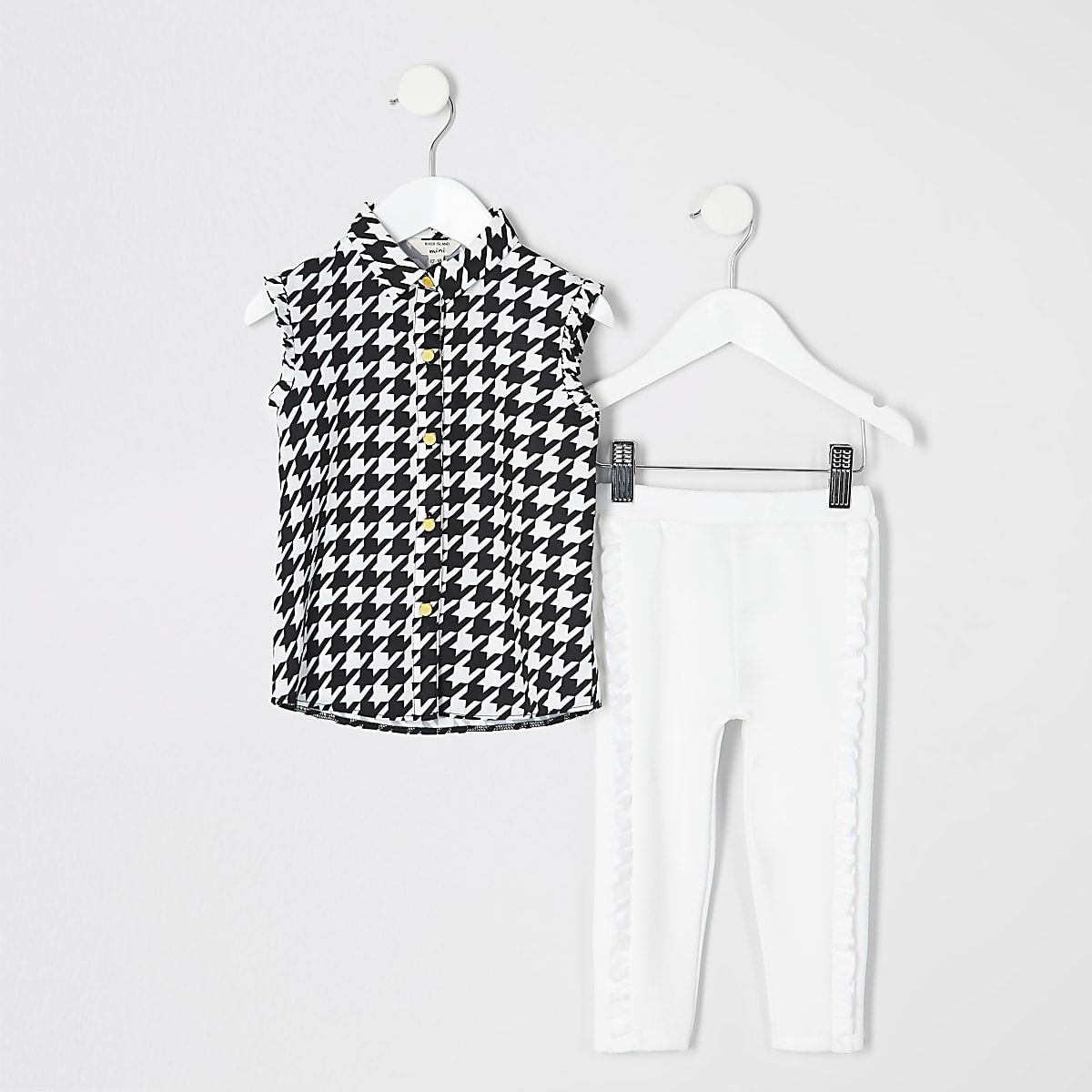Mini girls dogtooth shirt and legging outfit