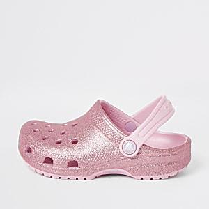 Crocs – Sabots roses à paillettes pour fille