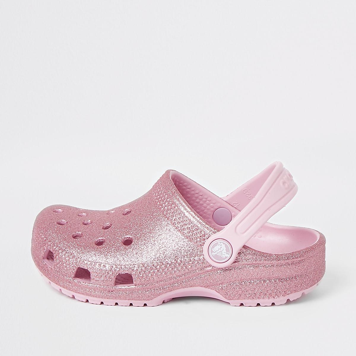 Girls Crocs pink glitter clogs