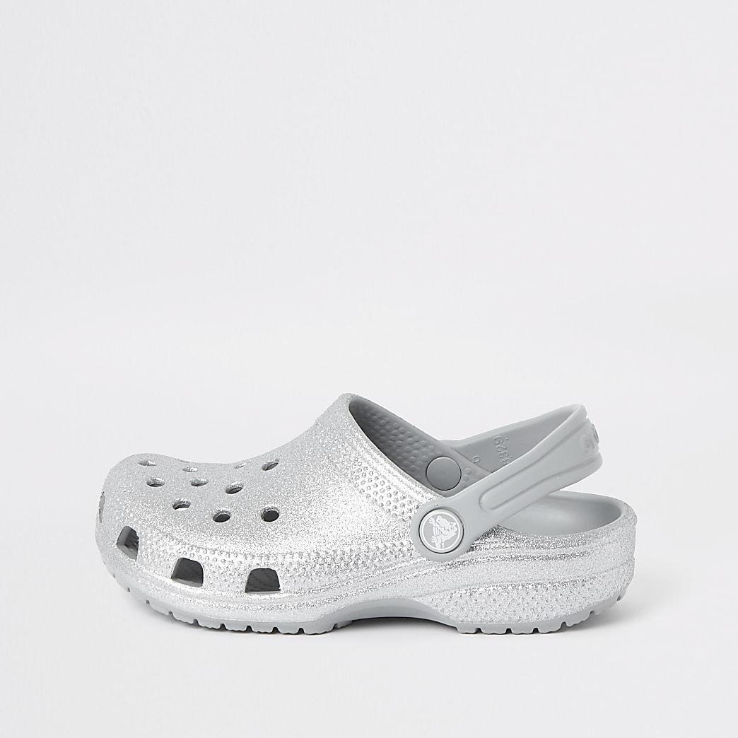 Girls Crocs silver glitter clogs