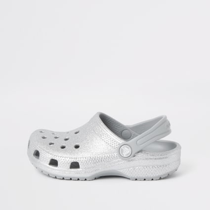 Girls Crocs silver glitter clogs