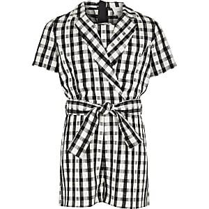 Girls white gingham tux romper