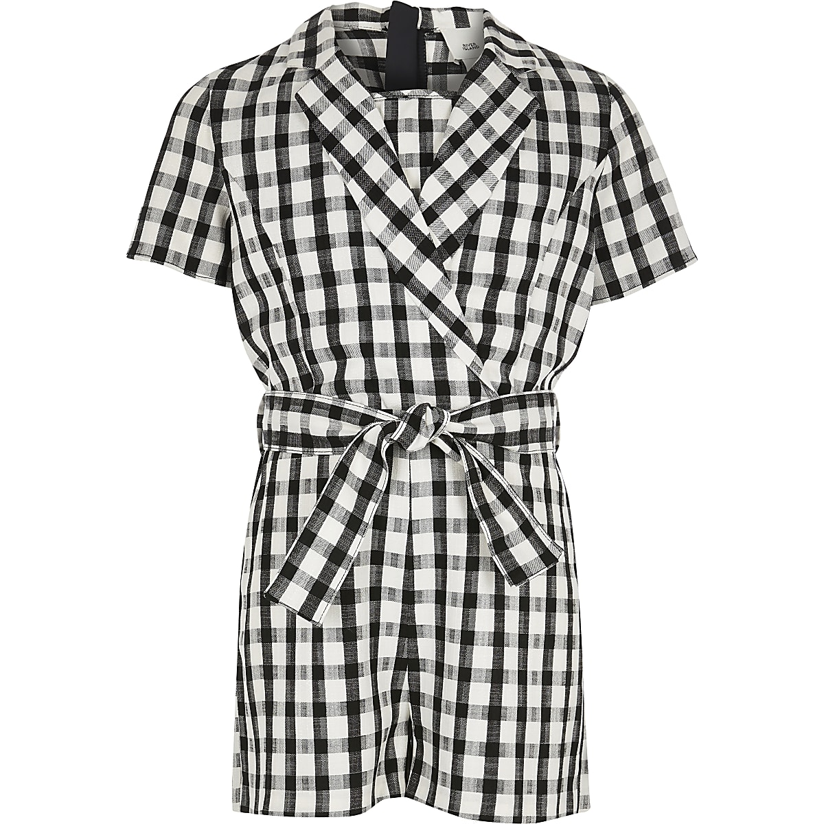 Girls white gingham tux playsuit
