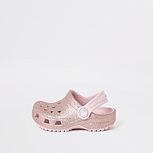 Mini - Roze glitter-clogs van Crocs voor meisjes
