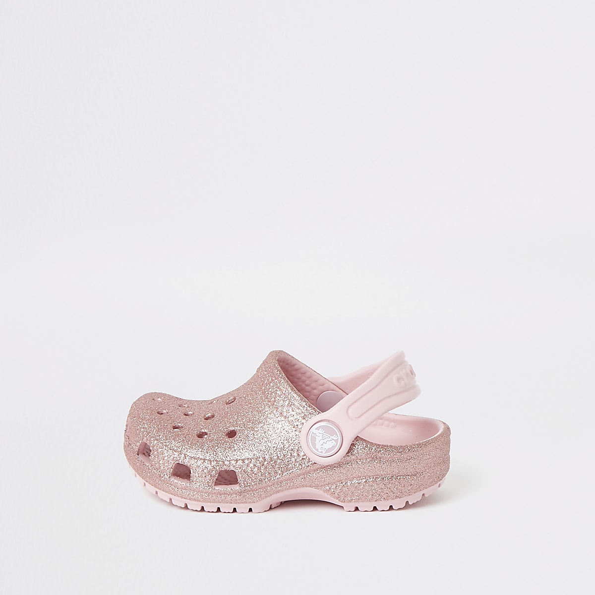 Mini girls Crocs pink glitter clogs