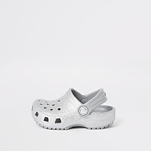 Mini girls Crocs silver glitter clogs