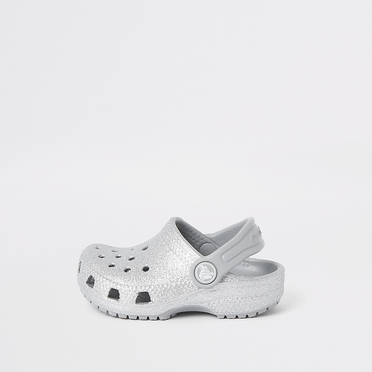 Mini girls Crocs silver glitter clogs