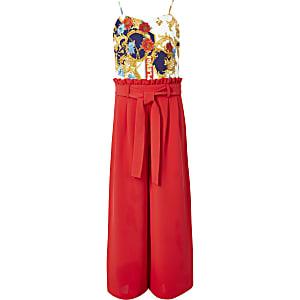 Rode jumpsuit met barokprint voor meisjes