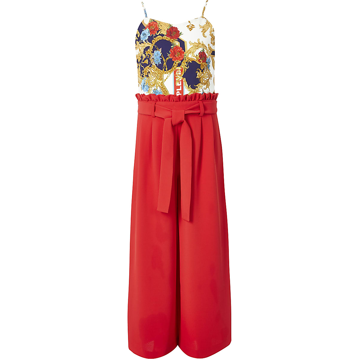 Girls red baroque print jumpsuit