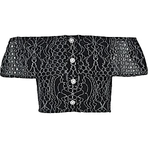 Girls black broderie bardot top