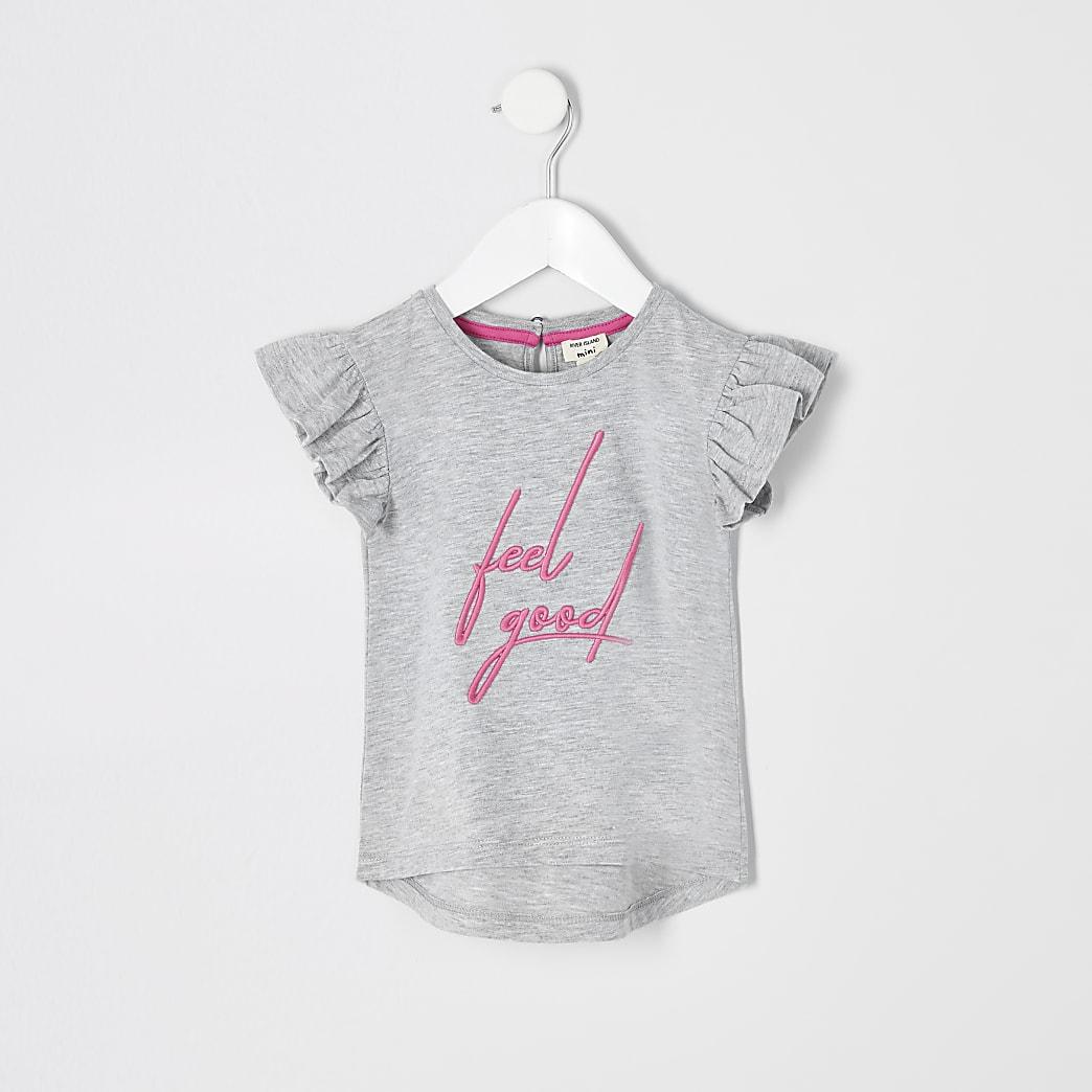 Mini girls grey 'Feel good' T-shirt