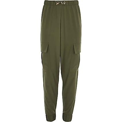 Girls khaki cargo trousers