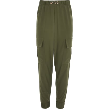 Girls khaki cargo trousers