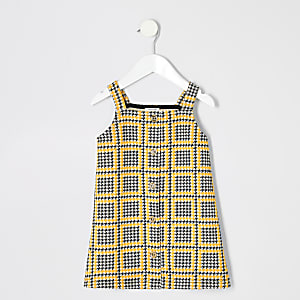 Mini girls yellow check pinafore dress