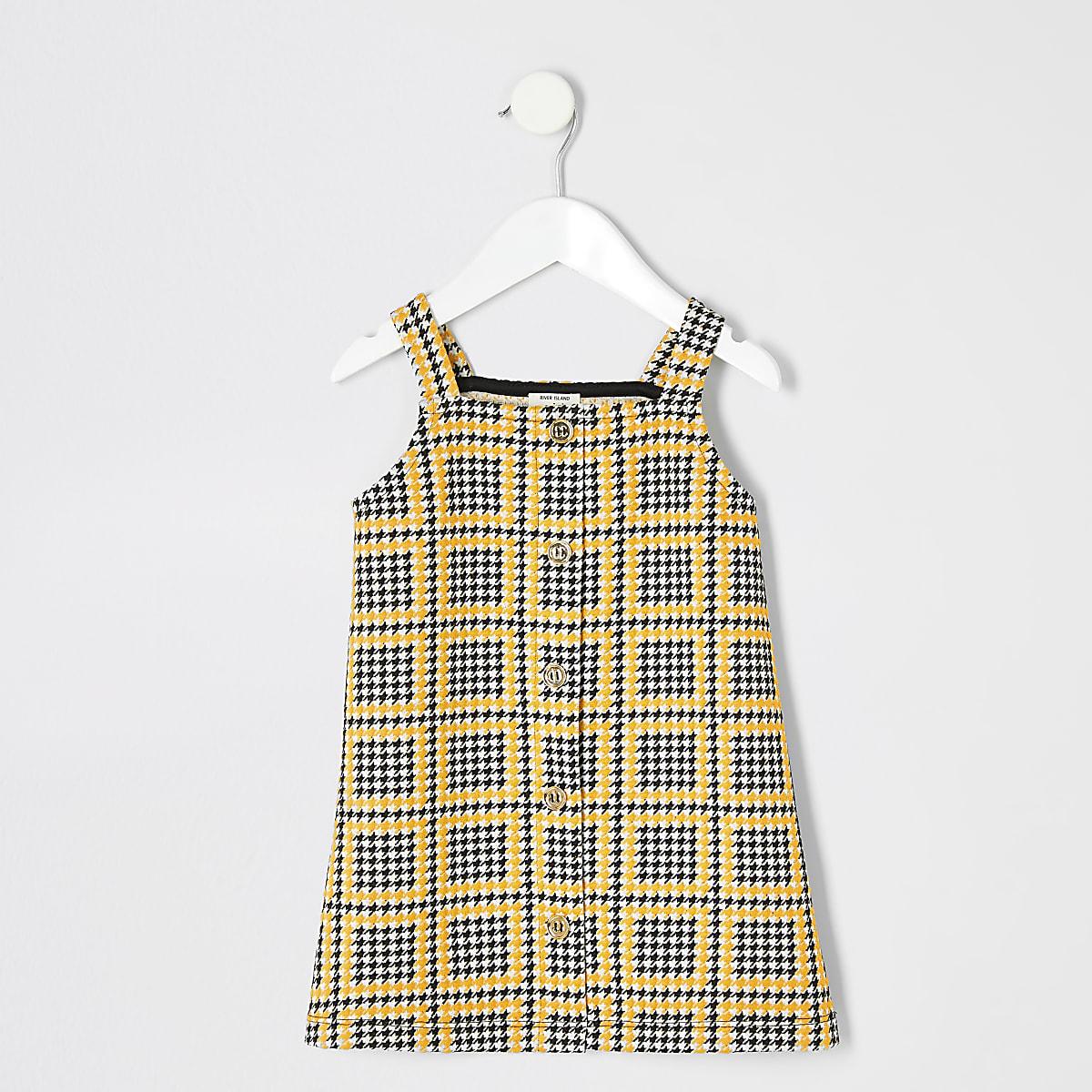 Mini girls yellow check pinafore dress
