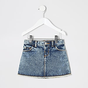 Mini girls mid blue mini denim skirt