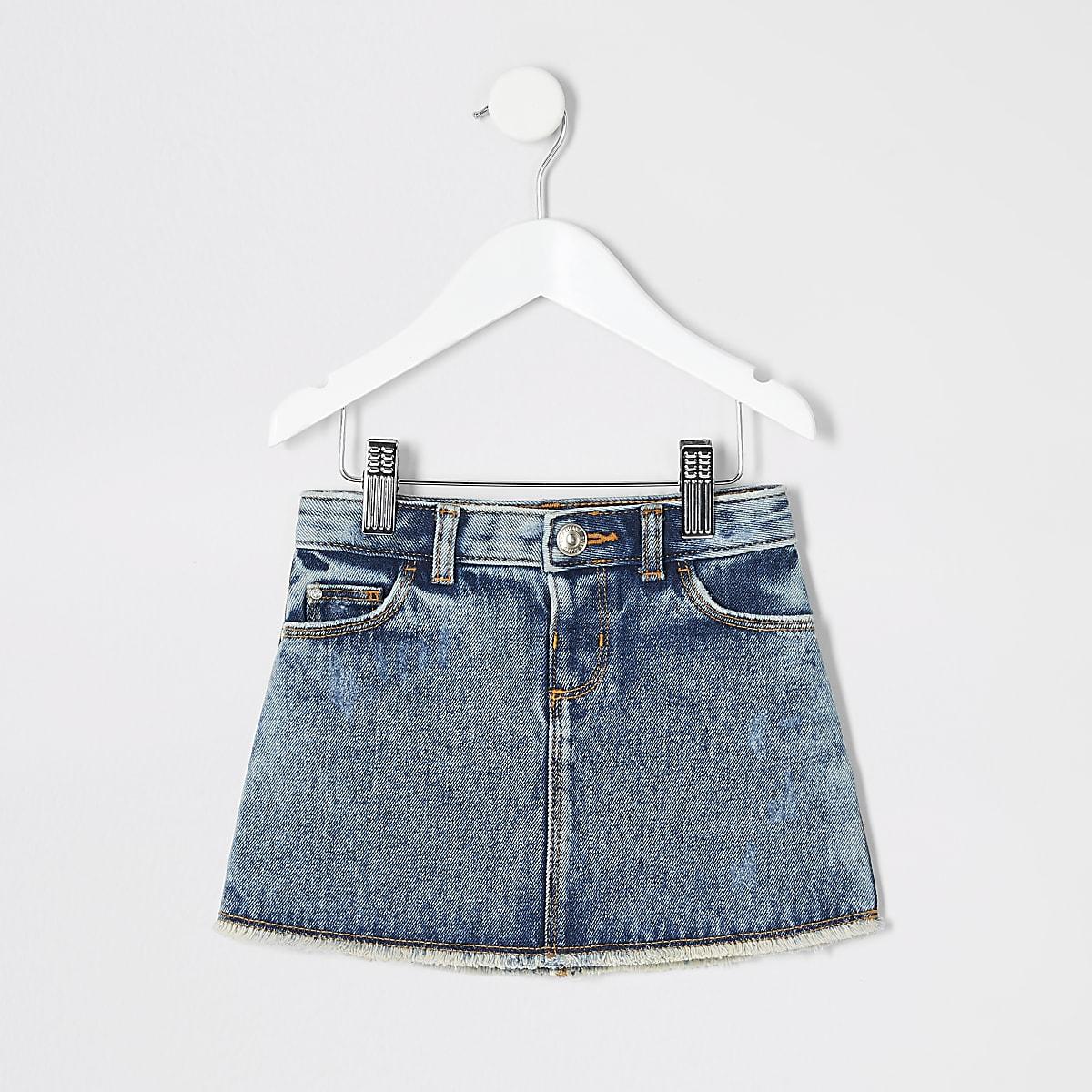Mini girls mid blue mini denim skirt