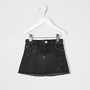 9ad0c0a07369 Mini girls black wash denim skirt