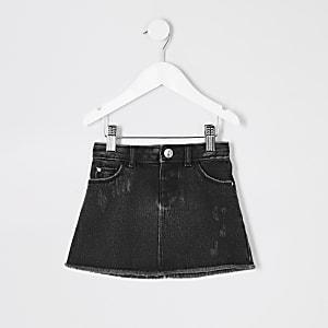 Mini - Zwarte wash denim rok voor meisjes