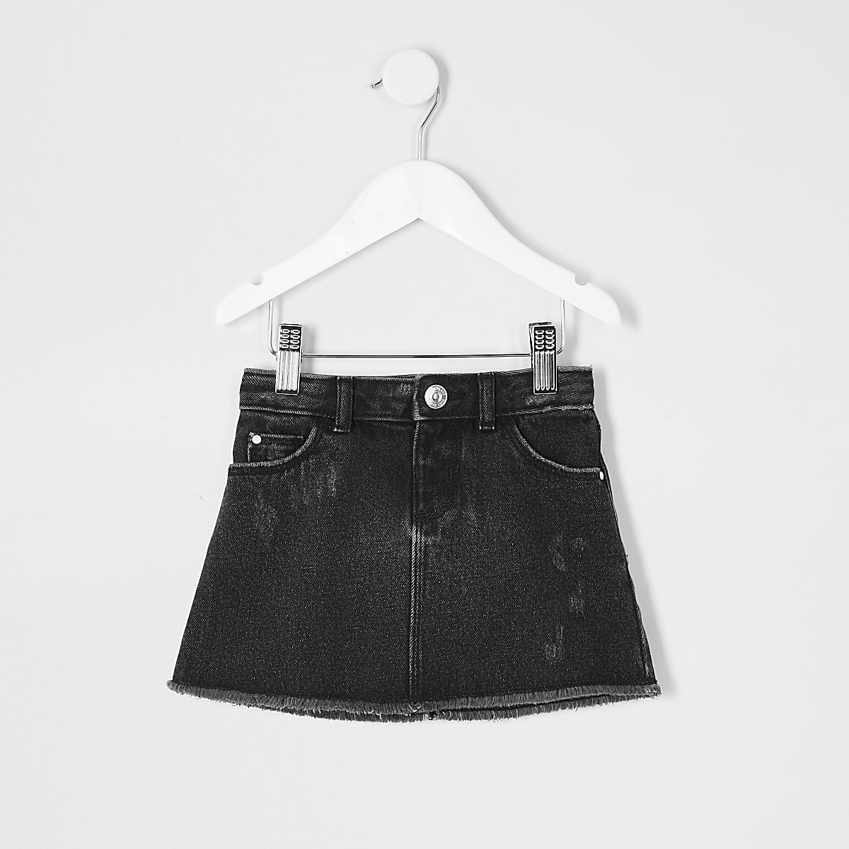 Mini girls black wash denim skirt