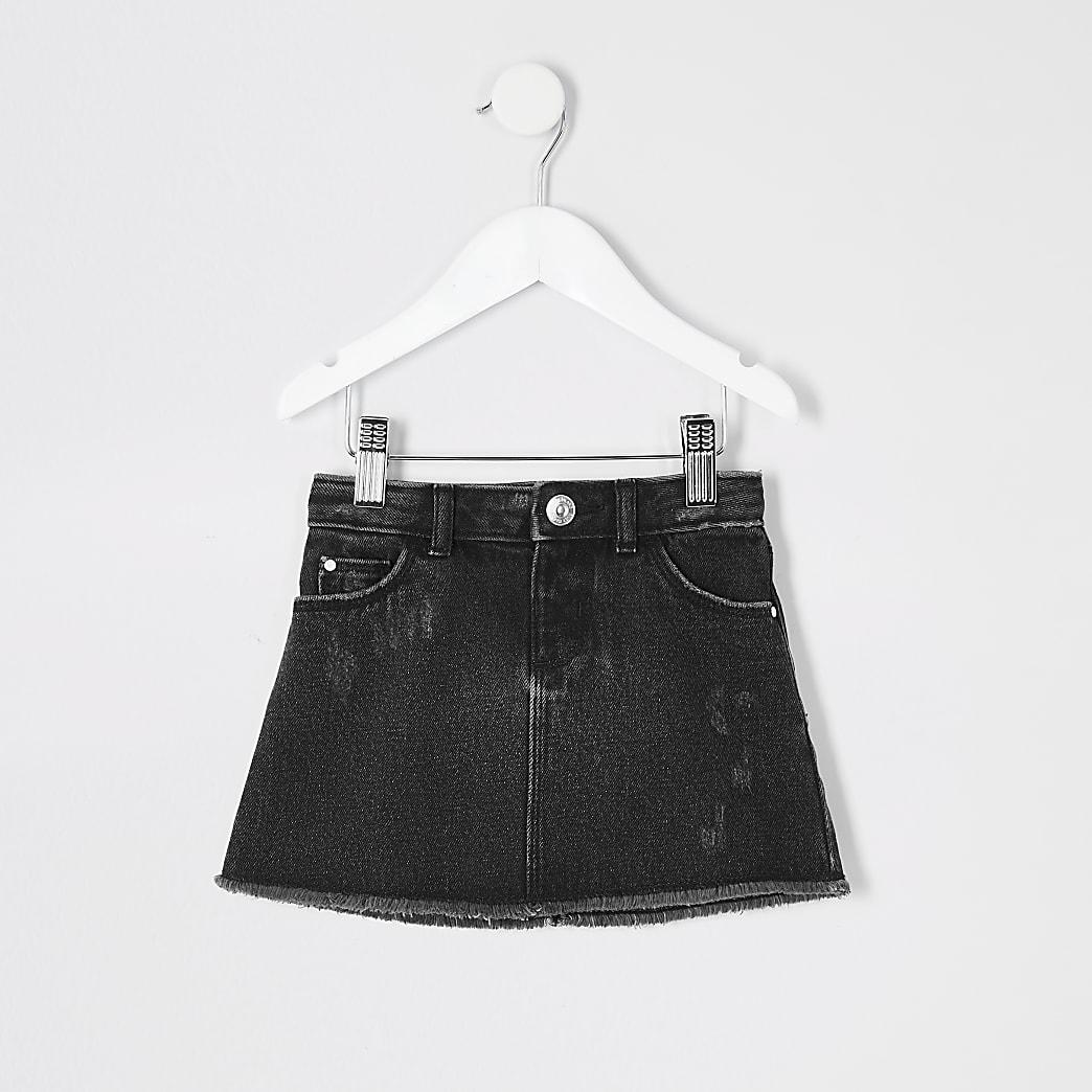 Mini girls black wash denim skirt