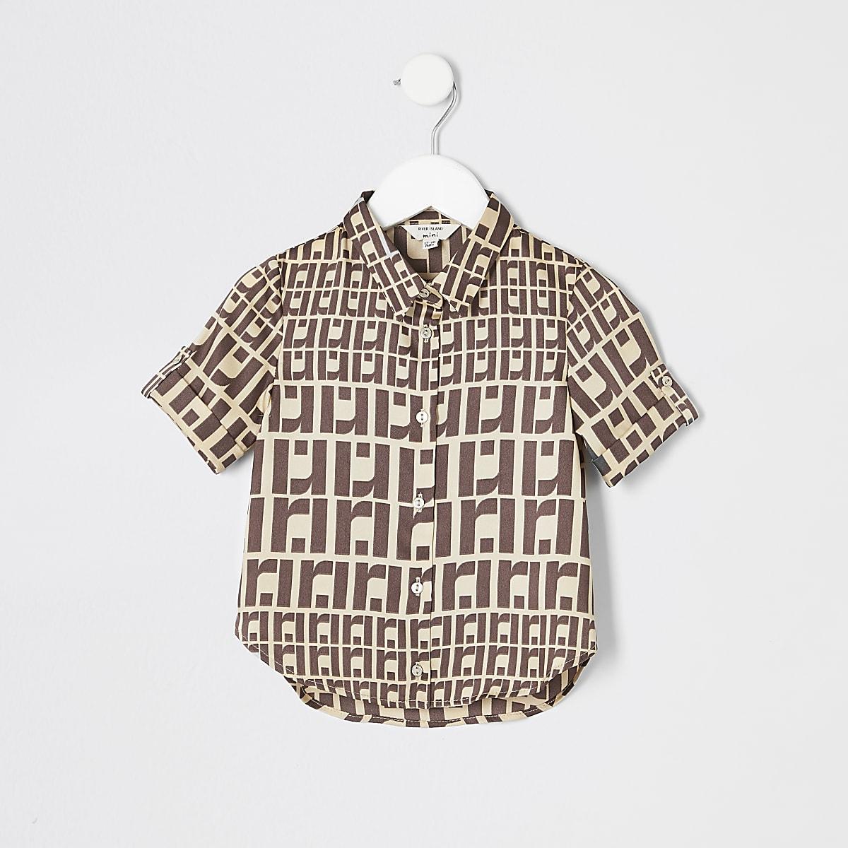Mini girls RI monogram short sleeve shirt
