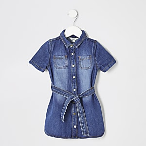 Mini girls blue denim shirt dress