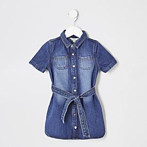 Robe chemise en denim bleue mini fille