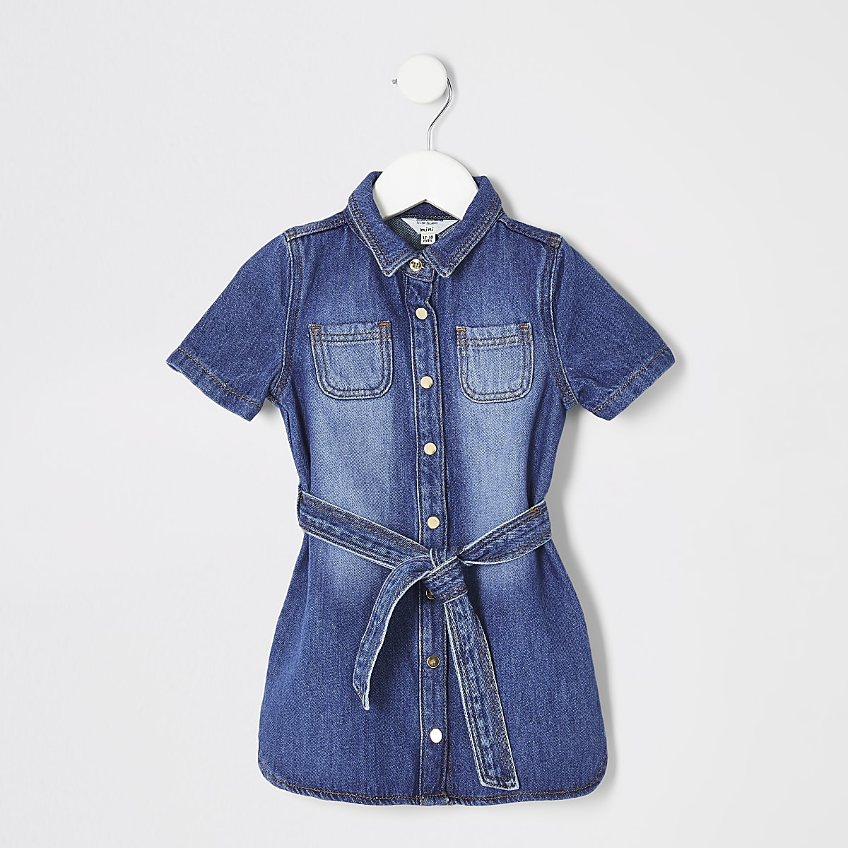 Mini girls blue denim shirt dress