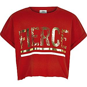 Girls red 'Fierce' T-shirt